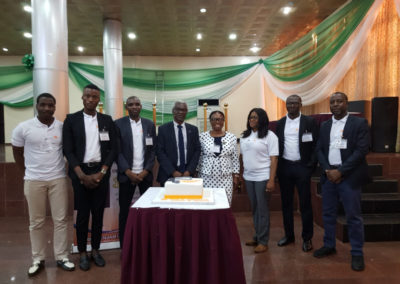 Lady Helen Child Health Foundation staff celebrating the CEO Dr. Benjamin Odeka for his 37 years of meritorious service to medicine