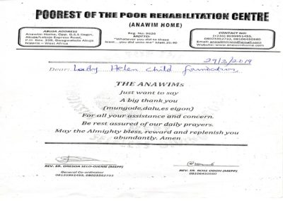 Certificate of Appreciation from the Poorest of the Poor Rehabilitation Centre