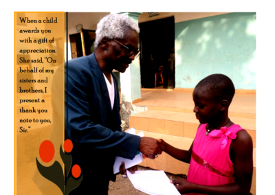 Receiving a thank you note from a lovely girl at the ophanage