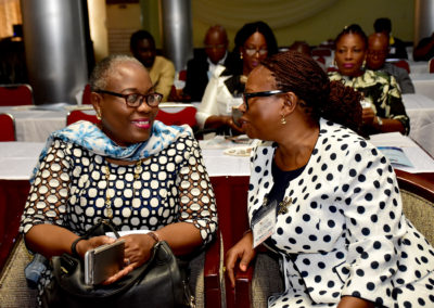 Mrs Bola Laditan and the Secretary to LHCHF in a cheerful conversation