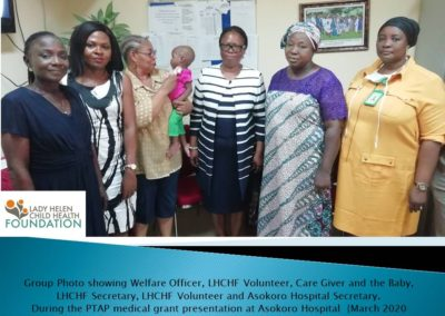 Group Photo showing Welfare Officer, LHCHF Volunteer, Care Giver and the Baby, LHCHF Secretary, LHCHF Volunteer and Asokoro Hospital Secretary.  During the PTAP medical grant presentation at Asokoro Hospital  {March 2020}